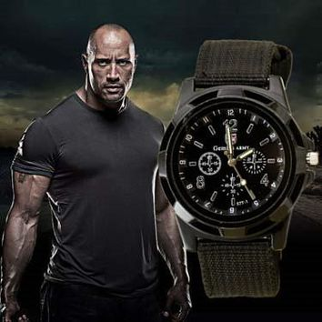 The Rock Army Soldier Military Canvas Strap Fabric Sports Watch