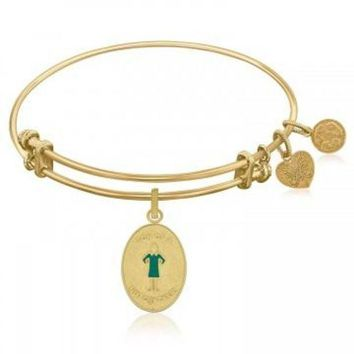 ac NOVQ2A Expandable Bangle in Yellow Tone Brass with Son Of A Nutcracker Symbol