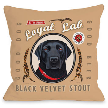 """Loyal Lab Black Velvet Stout"" Indoor Throw Pillow by Retro Pets, 16""x16"""