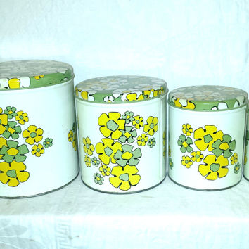 Ballonoff Retro Canister Set 1970's Green and Yellow Flowers