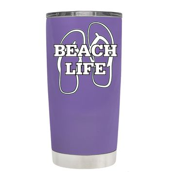 The Beach Life Sandals on Lavender 20 oz Tumbler Cup