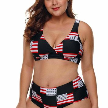 American Flag Checked Plus Size Swimsuit