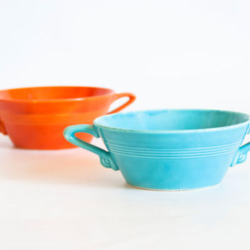 Vintage Homer Laughlin Harlequin CREAM SOUP Fiesta Radioactive Red Color and Turquoise, Art Deco Dishes Small Bowls with Handles, 1940s