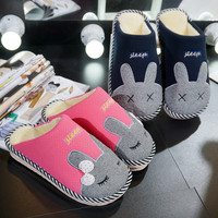 Cotton Home Cartoons Couple Thicken Slippers [9067739780]
