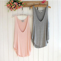 Wonderful Fashion Summer Woman Lady Sleeveless V neck Candy Vest Loose Tank Tops T shirt