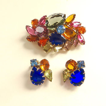 Vintage Rhinestone Demi Fruit Salad Brooch Set Rhinestone Jewelry Set Multicolor Clip Earrings 1960s Jewelry