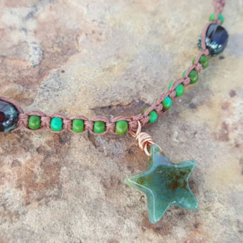 Hemp Necklace, Star Necklace, Green Agate, Czech Glass Beads, Gift for Her, Handmade, Hemp Jewelry, Gift, Hemp Choker, Star Choker, Earthy