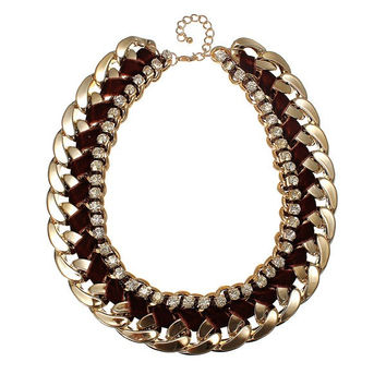 Woven Rope Thick Rhinestone Chain Collar Necklace