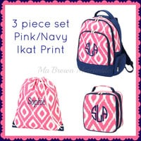 3pc Set - Monogrammed Pink Navy Ikat Backpack Lunch Gym Cinch Sack - Back to School - Pink Backpack - Ikat Lunchbox - Drawstring Gym Bag