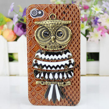 Brass Cute Owl, And Hard Case Cover For Apple iPhone 4g/4s