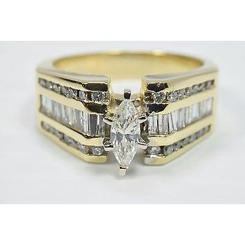 Certified Women's Heavy Cathedral Style 1.0 ct Diamond E-F SI2 Engagement Ring