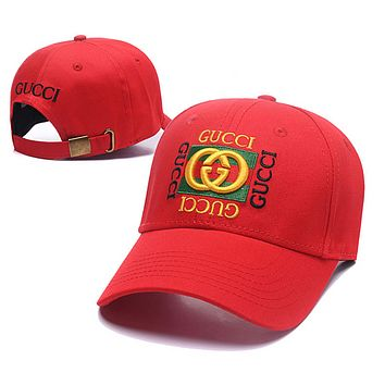 GUCCI Fashion New Embroidery Letter Stripe Sun Protection Women Men Cap Hat Red