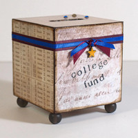 Child's Coin Bank Decoupaged Bank School College by rrizzart