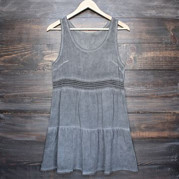 boho acid wash flowy tunic dress with crochet inset