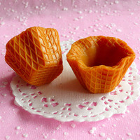 Fake Waffle Cups Kawaii Faux Miniature Sweets Cabochon Charms Making Decoden Sweets Deco DIY Cellphone Deco (2 pcs) MC12