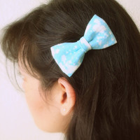 Hair Bow Set Blue Recycled T Shirt Bleached Hair Accessories Upcycled