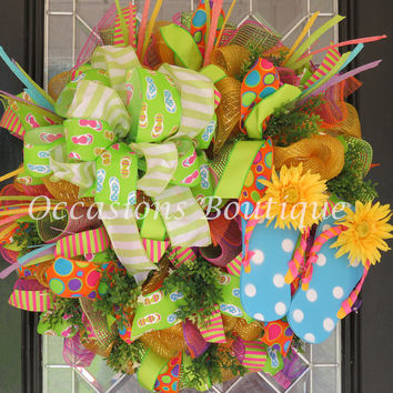 Last One! Summer Wreath, Flip Flop Wreath, Wreath for Summer, Front door wreaths, Outdoor wreath, door Hanger, Ready to ship