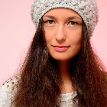 Light gray chunky hat, crochet hat, knit hat, slouchy hat, hand knit hat, slouchy beanie, winter knitted hat, chunky beanie. Christmas gift.