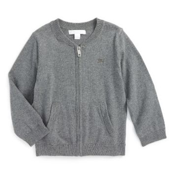 Burberry 'Mini Jaxson' Front Zip Cotton Cardigan (Baby Boys & Toddler Boys) | Nordstrom