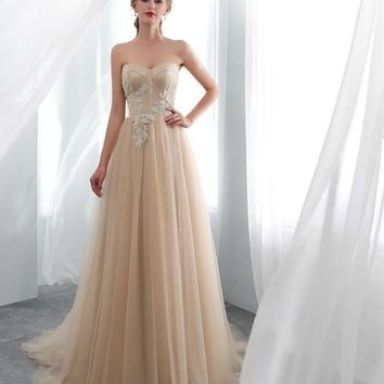 Evening Dresses Party Long Dress Elegant Champagne Lace Applique Beads Prom Gowns