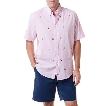efb315bb8 Straight Wharf Short Sleeve Shirt with Embroidered Island Time b. *  Buttondown ...