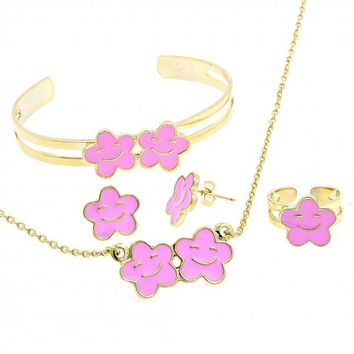 Gold Layered Earring and Pendant Children Set, Flower and Smile Design, Gold Tone