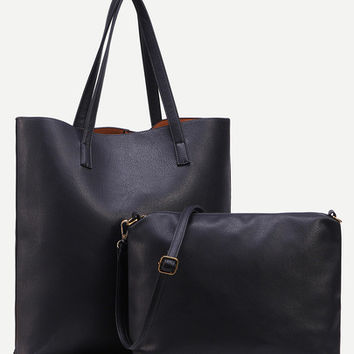 Faux Leather Tote Bag With Crossbody Bag