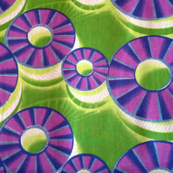 African Wax Print Fabric by the HALF YARD.  Lime Green, Purple, and Blue--Wheels with Glitter Texture