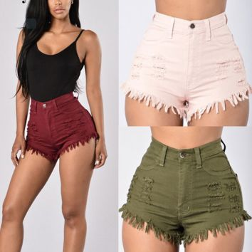 Fashion High Waist Denim Shorts
