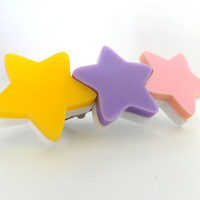 Pastel Star Hair Clip: PERFECT PASTELS Baby Pink, Lilac and Yellow Acrylic Star Hair Clip