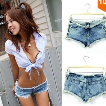 PEAPIX3 2014 New Summer Women's Vintage High Waist Denim Shorts Women Jeans Low Waist Solid Button Pockets Sexy Ladies HotPants = 1930008900