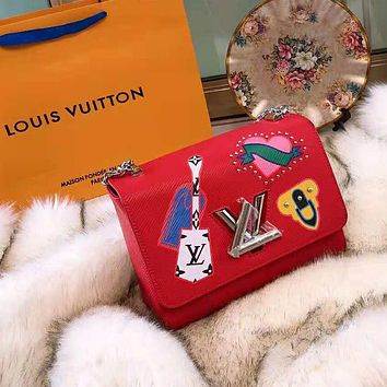 LV High Quality Stylish Women Shopping Leather Shoulder Bag Crossbody Satchel Red
