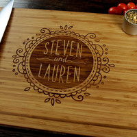 Personalized Name Badge Cutting Board, Wedding Gift, Housewarming Gift, Engagement Gift, Bride and Groom, Christmas Gift