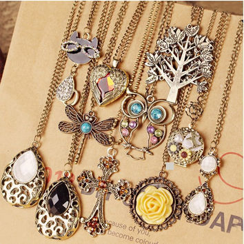 Trendy Mix Style Tower Pendant Cross / Peacock / Water Drop / Owl / Flower / Horse Necklace