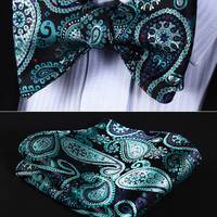 BP706QS Aqua Black Paisley Bow tie Men Silk Self Tie Bow Tie