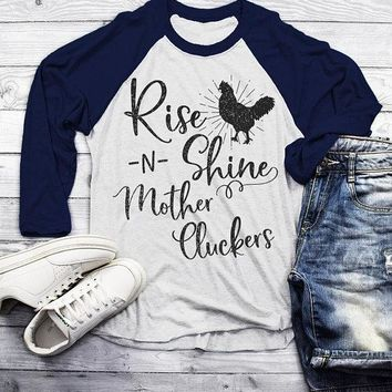 Men's Funny Vintage Chicken Raglan Rise Shine Mother Cluckers Shirt Farming 3/4 Sleeve