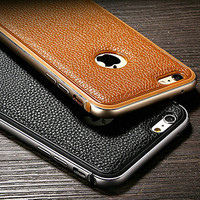 Genuine Leather Case for iPhone 6 4.7 Metal TPU Integrated Frame Case for Apple iPhone 6