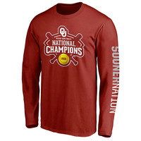 Oklahoma Sooners 2016 NCAA Women's Softball College World Series Champions Official Logo Long Sleeve T-Shirt - Crimson