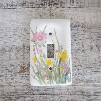 Light Switch Cover Ceramic Lightswitch Cover Floral Light Switch Cover Cottage Chic Light Switch Plate Vintage Ceramic Switch Cover