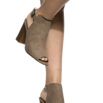 Taupe Faux Suede Sling Back Chunky Peep Toe Heels @ Cicihot Heel Shoes online store sales:Stiletto Heel Shoes,High Heel Pumps,Womens High Heel Shoes,Prom Shoes,Summer Shoes,Spring Shoes,Spool Heel,Womens Dress Shoes