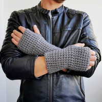 GRAY FINGERLRSS GLOVES Unisex Mittens Fishing Wool Driving Winter Accessories Crochet Fingerless Gloves Crochet Accessories 902