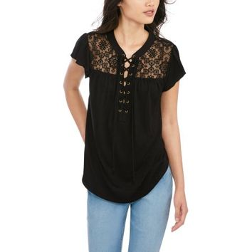 No Boundaries Juniors' Lace-Up Flutter Sleeve Blouse with Lace Yoke - Walmart.com