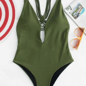 Deep Plunging Strappy Back One Piece Swimsuit