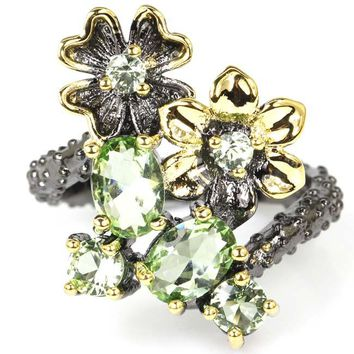 Vintage Style Green Tsavorite Garnet Flower Woman's Wedding Black Gold 925 Silver Ring 25x17mm