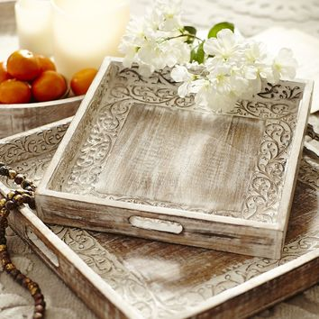 Carved Vine Square Trays