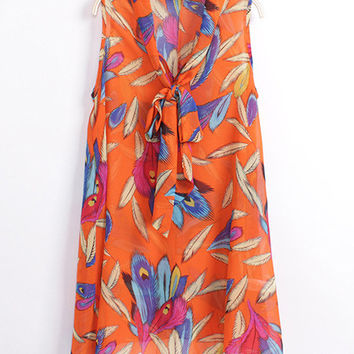 Feathers Print Tie Collar Sleeveless Chiffon Top