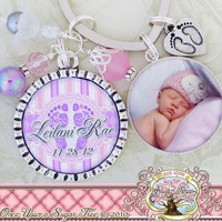 Personalized Newborn Baby KEY CHAIN with Photo, Baby Footprints, New Mom, Baby Shower Gift, Keepsake Gift, Mother, Grandmother, Photograph