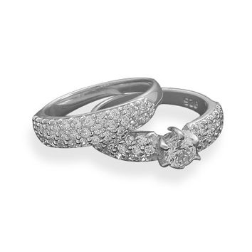 Bridal Rhodium Plated 2 Piece Pave with 5mm Center CZ