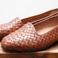 Vintage Brown Huaraches Woven Leather Flats - Size 7