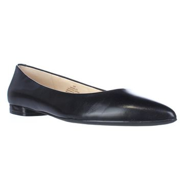 Nine West Onlee Pointed Toe Ballet Flats, Black, 5.5 US